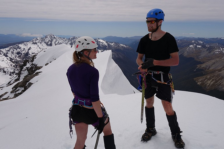 Jason Stephens and Jadria Cincotta at the summit of Mt Travers 2338m