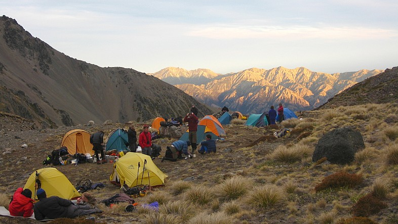 Several parties in camp on Mt Tapuae-o-Uenuku above the Clarence valley