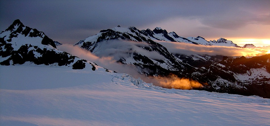 Sunset on the Bonar Glacier from Colin Todd hut.