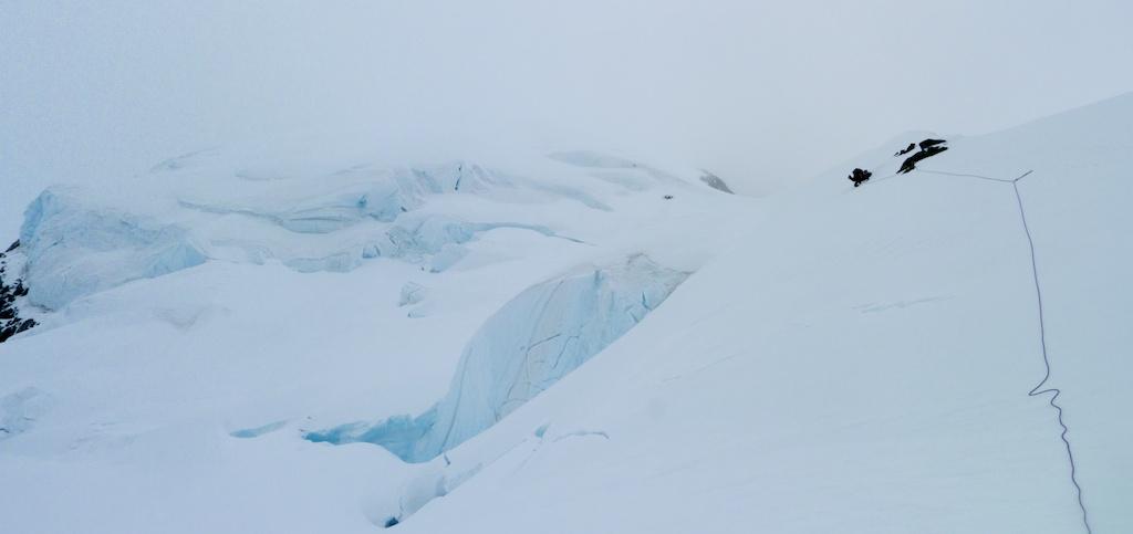 Avoiding crevasses on the ridge descent
