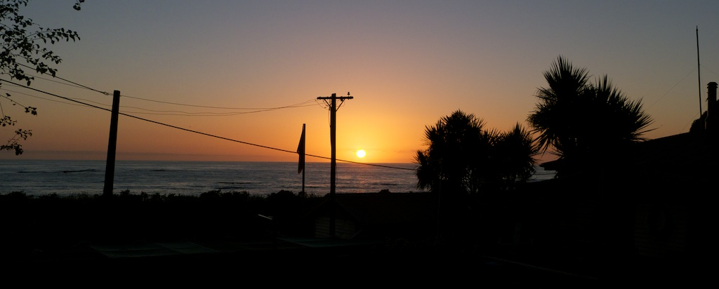 Sunrise in camp on the Kaikoura coastline as we made our way home to Wellington