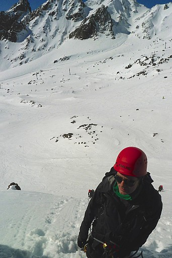 Karl at another belay on the Knoll First Ice Field.