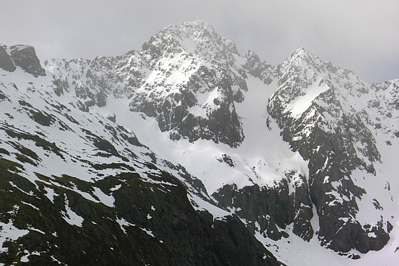 South face of Mt Hopeless showing Hopeless Couloir route right of centre and south west ridge at left