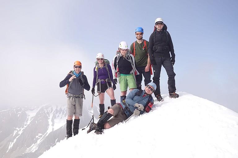 Mt Cupola 2260m - The summit team L-R Peter Hicks, Jadria Cincotta, Nikki Williams, Jason Stephens, Brendon Green, Stu Hutson (resting)