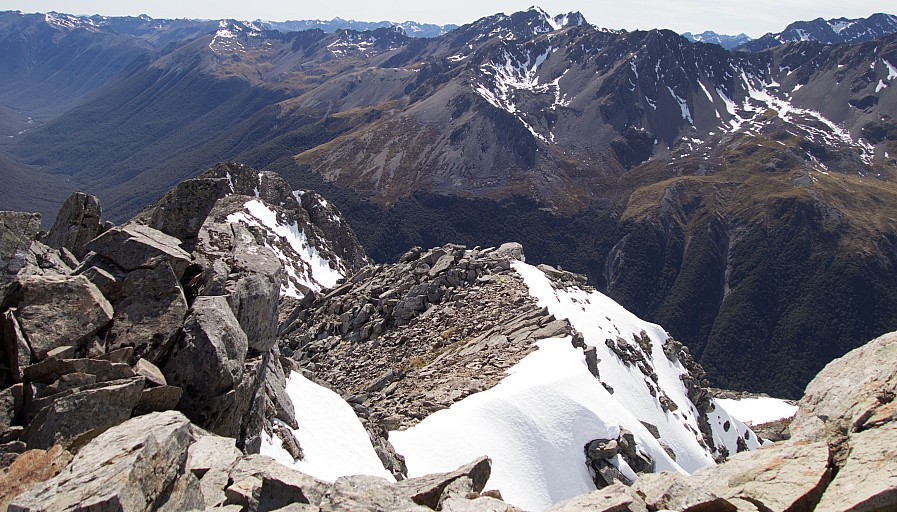 Getting a bit more exciting with scrambling over blocks on the ridge.