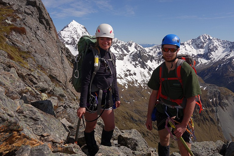 We roped up at this block.  Jade and Jason ready to climb!  Mts Cupola and Hopeless in background
