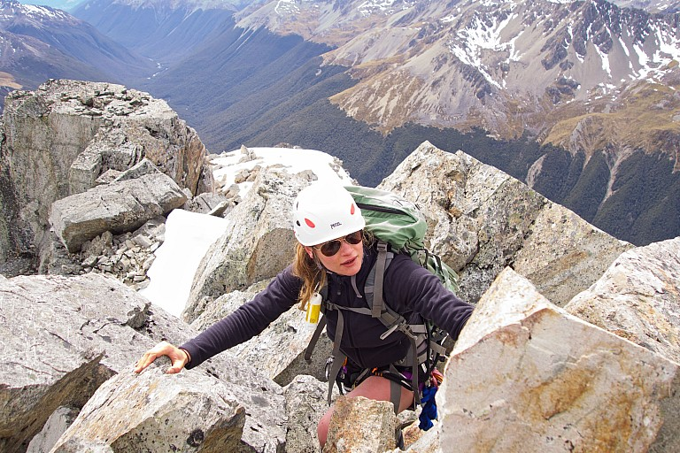 Jade getting used to NZ ridge climbing