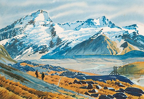 click on the photo and click again on the photo to download the original image  qJohn Magurk 'Mountaineers' Watercolour