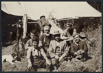 Group portrait with workman who built track to Alpha and erected Tauherenikau top hut (~1930s)
