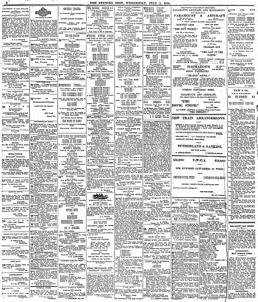 Page 2 Advertisements Column 3 (Evening Post, 02 July 1919)