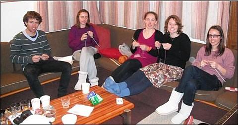The knitters: Nick Johnstone, Miranda Gardiner, unknown, Chelsea Matilda Robinson and Bronwen Gardiner